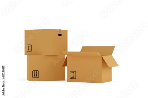 Fototapeta Three closed and open brown cardboard moving storage boxes over white background, moving day concept obraz