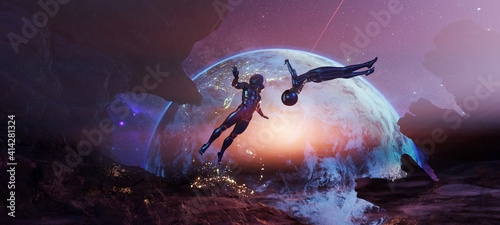 Photo Bodyflying astronauts on alien rocky planet without enough gravity with glowing Earth on background