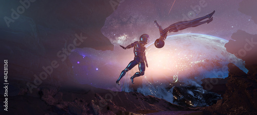 Fotografia Bodyflying astronauts on alien rocky planet without enough gravity with Earth on
