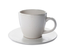 New Clean Ceramic Cup And Saucer On White Background