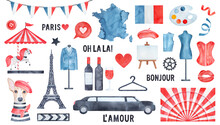 Watercolour Collection Of Various Symbols Of Paris And French Culture With Merry-go-round Horse, Fashion Dog, Elegant Men Tuxedo, Drawing Easel, National Flag, Festive Bunting Decoration, Love Hearts.