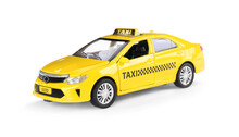 Yellow Taxi Car With Roof Sign On White Background
