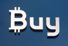 A Word Buy In Form A Bitcoin Sign On  Buy Your Crypto Bank Office, A Point Of Offline Crypto Currency Exchange, Opened On August 2018, In Kiev, Ukraine, On 22 October 2018.