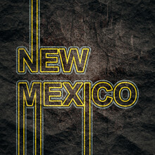 Image Relative To USA Travel. New Mexico State Name In Geometry Style Design. Creative Vintage Typography Poster Concept.