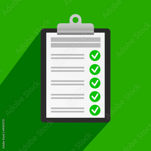 Clipboard with checklist icon on green background. #414311751