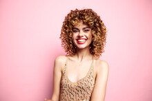 Attractive Woman Happy Smile Curly Hair Tank Top With Sequins Charm Model Pink