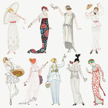 Vintage Women's Fashion Vector Set, Remix From Artworks By George Barbier