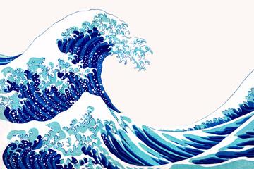 Vintage wave Japanese vector border, remix of artwork by Katsushika Hokusai