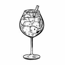 Aperol Spritz Summer Cocktail. Hand Drawn Black Color Vintage Style.