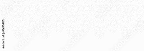 ダマスク風の模様 横長の白い背景
