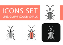 Four Icons In Different Styles, Cucumber Beetle, Striped
