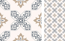 Seamless Azulejo Tile. Portuguese And Spain Decor. Ceramic Tile. Vector Hand Drawn Illustration, Typical Portuguese And Spanish Tile