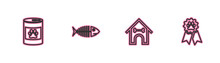 Set Line Canned Food, Dog House And Bone, Fish Skeleton And Pet Award Symbol Icon. Vector.
