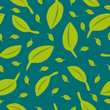 Seamless Pattern With Green Leaves. Blue Green Background. Autumn, Spring Or Summer. Nature And Ecology. For Packaging Design And Wrapping Paper. For Wallpaper, Scrapbooking, Textile And Post Cards