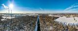 Fototapeta Na ścianę - rzeka Olza, granica Polsko - Czeska w zimie z lotu ptaka