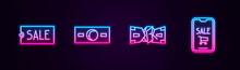 Set Line Price Tag With Text Sale, Paper Money Cash, Crumpled Paper And Mobile Phone And Shopping Cart. Glowing Neon Icon. Vector.