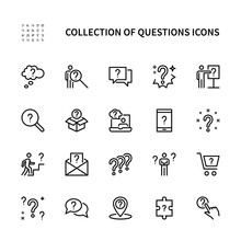 Questions And Problem Ask And Think Vector Linear Icons Set. Contains Icons As Puzzle Confused Man Question Mark And More. Isolated Collection Of Questions Icons For Websites. Editable Stroke.