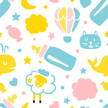 Cute Childish Seamless Pattern, Endless Repeating Print Can Be Used For Background, Wallpaper, Textile, Packaging Design Vector Illustration