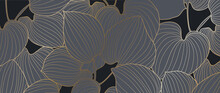 Black And Gold Leaves Background Vector. Golden Monstera  Line Arts Wallpaper With Tropical Leaves.