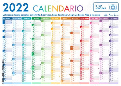 Fototapeta 2022 Italian Planner Calendar with Vertical Months on white background obraz na płótnie