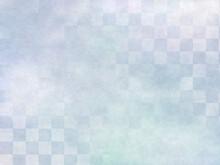 市松模様の和風背景 淡いブルーグレーのグラデーション
