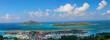 Eden Island Inselparadies mit türkisem Meer, Mahe, Victoria, Seychellen, Afrika, Panorama