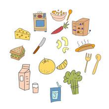 Set Of Element Doodle Cooking Equipment Colorful. Cooking Doodles Design Element