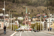 Norway - Buskerud - Drammen - The Panoramic View Of The City Downtown Along Kirkegata Street Towards Bragernes Church Taken From Bybrua Bridge Across Drammenselva River