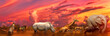 canvas print picture - Banner panorama of Big Five and wild animals collage with african landscape at sunrise in Serengeti wildlife area, Tanzania, East Africa. Africa safari scene in savannah landscape.