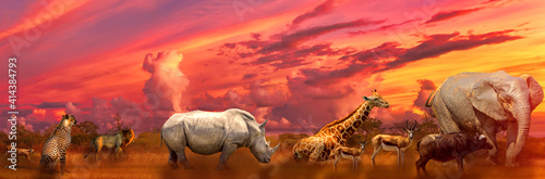 Canvas Print Banner panorama of Big Five and wild animals collage with african landscape at sunrise in Serengeti wildlife area, Tanzania, East Africa