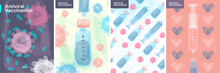 Vaccine And Virus Vaccination. Watercolor Posters. Set Of Vector Illustrations. A Syringe Of Vaccine Kills The Virus. A Test Tube With A Virus. Hearts In The Background.