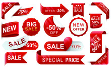 Discount Red Ribbons. Collection Of Labels, Tens, Templates Of Trade Labels. Sale Tag 30%, 50%, 70%. Discount Labels. Vector Illustration