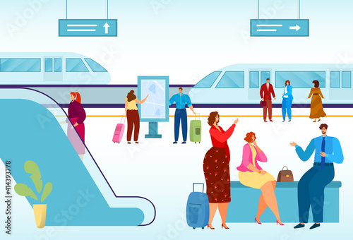 Fototapeta premium Modern city, public transport, high-speed train for comfortable travel, urban vehicle on rails, cartoon style vector illustration. Men and women on railway station platform, commute to work in subway.