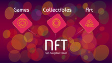 NFT Non Fungible Tokens Infographics On Colorful Abstract Background. Pay For Unique Collectibles In Games Or Art. Vector Illustration.