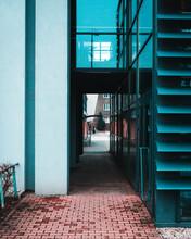 Outdoor Corridor Through A New Modern Office Building