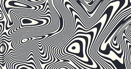 Fototapeta premium Psychedelic art vector design. Optical illusion striped lines background. Abstract liquid pattern.