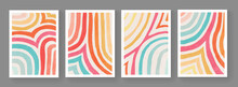 Set Of Minimalist Hand Painted Posters. Mid Century Modern Illustration. Colorful Stripes Artwork. Abstract Cover Design. Contemporary Art.
