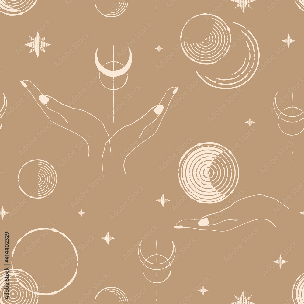 Fototapeta seamless pattern with moon phases, stars and hands