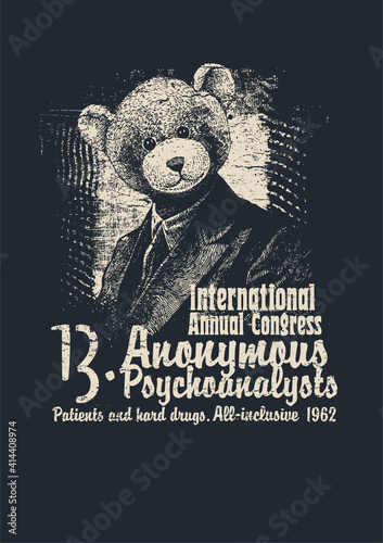Retro design Congress Anonymous Psychoanalysts for poster or t-shirt print with man in a bear mask and textures. vector illustration.
