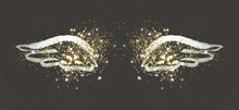 Golden Glitter On Abstract Silver Hand Painted Wings On Black Background