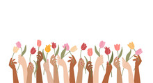 Vector Illustration Female Hands Holding Flowers Isolated On A White Background.Elegant Floral Poster With Tulips.Happy International Women's Day.