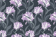 Art Floral Vector Seamless Pattern. Delicate Purple Ipomoea, Morning Glory, Isolated On A Deep Grey Background. Curly Flowers With Grey Leaves. For Fabric, Home And Kitchen Textile, Wallpaper Design.
