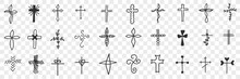 Crosses Of Various Shapes Doodle Set. Collection Of Hand Drawn Religious And Decorative Cross Of Different Souls And Forms Isolated On Transparent Background
