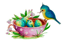 This Is A Nest With Eggs. A Chick Has Hatched From One Egg, My Mother Is Happy With His Birth. This Watercolor Illustration Can Be Used For Postcards, Greetings, Magnets, And Prints.