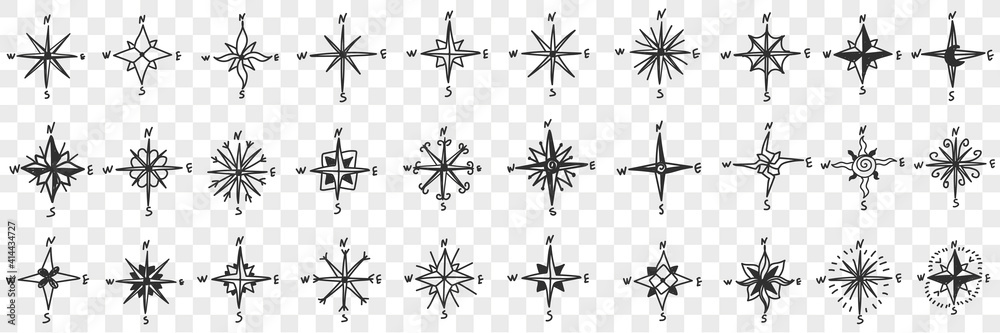 Fototapeta Cardinal points on compass doodle set. Collection of hand drawn patterns of north south west and east showing cardinal points for orienteering with compass isolated on transparent background