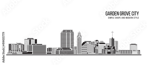 Fotografiet Cityscape Building Abstract Simple shape and modern style art Vector design - Ga