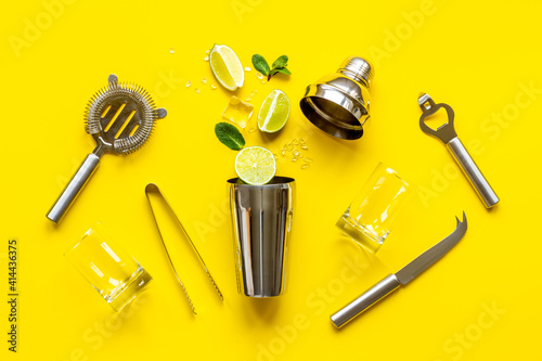 Bar utensils and tools for Mojito cocktail - shaker, lime and ice Wallpaper Mural