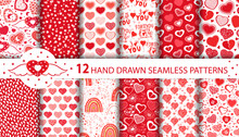 Set Of Hand Drawn Seamless Patterns With Cute Red And Pink Hearts, Rainbows, Balloons, Stars, Moon, Text. Love Collection. Romantic Vector Doodle Illustration For Birthday, Valentine's Day Or Wedding