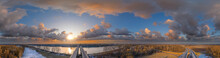 Nibelung Bridge Over The Rhine River In Worms Germany 360° Airpano