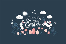 Lovely Hand Drawn Easter Design, Doodle Bunnies, Eggs And Flowers, Great For Banners, Wallpapers, Cards - Vector Design